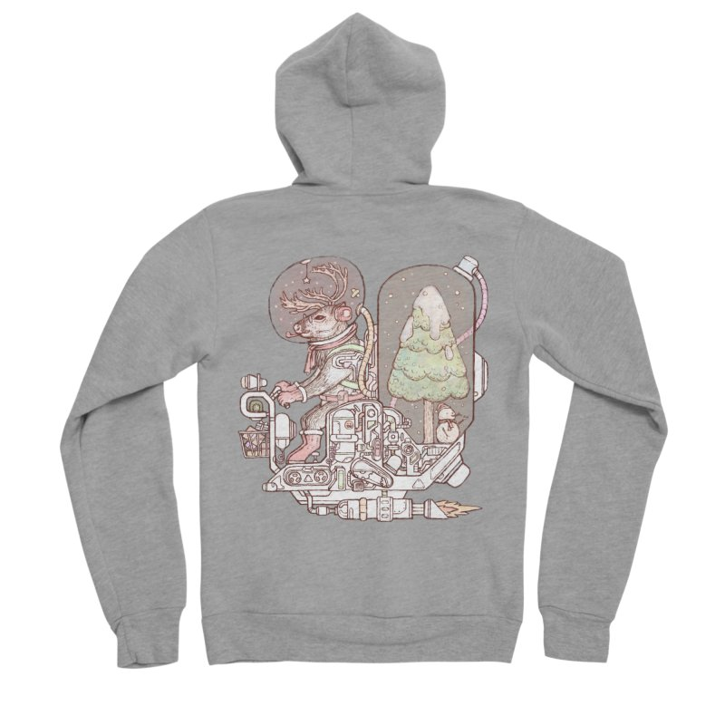 Reindeer space suits Men's Sponge Fleece Zip-Up Hoody by makapa's Artist Shop