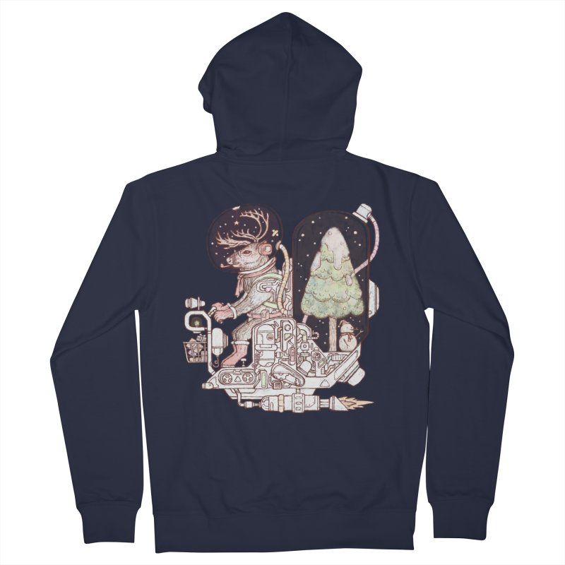 Reindeer space suits Men's French Terry Zip-Up Hoody by makapa's Artist Shop