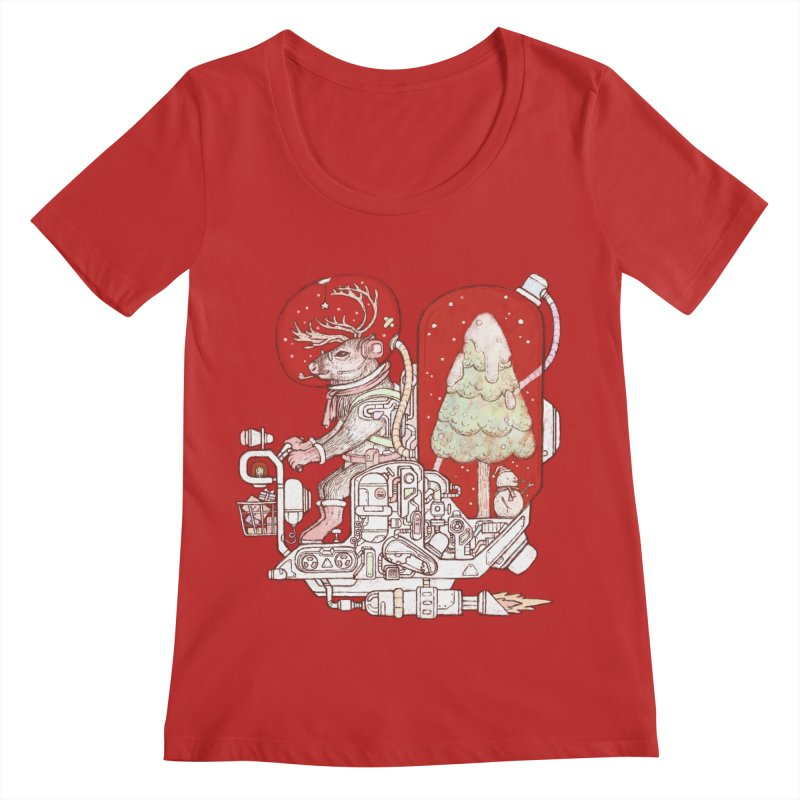 Reindeer space suits Women's Regular Scoop Neck by makapa's Artist Shop