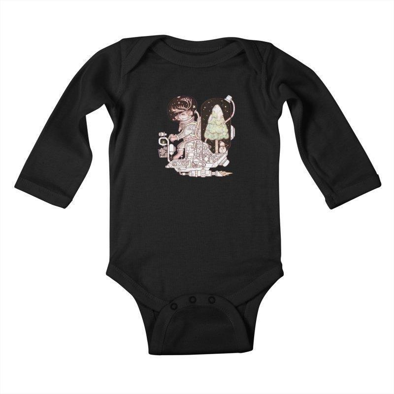 Reindeer space suits Kids Baby Longsleeve Bodysuit by makapa's Artist Shop
