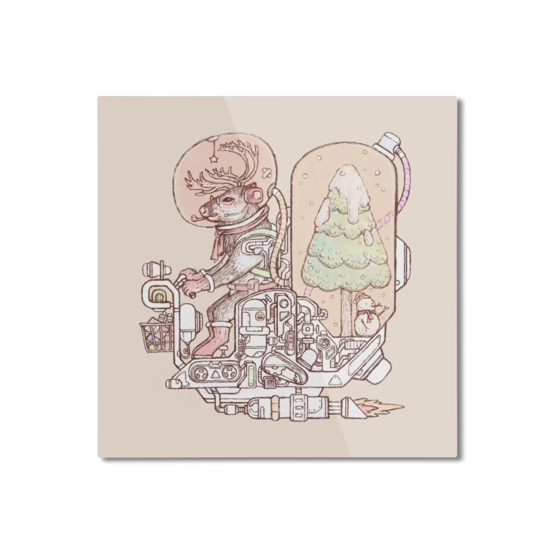 Reindeer space suits Home Mounted Aluminum Print by makapa's Artist Shop
