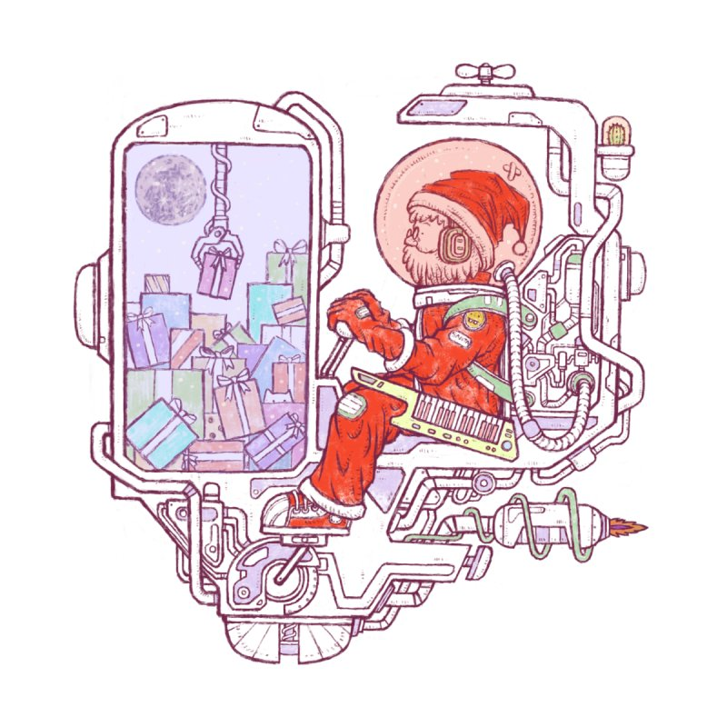 Santa space suits Accessories Sticker by makapa's Artist Shop