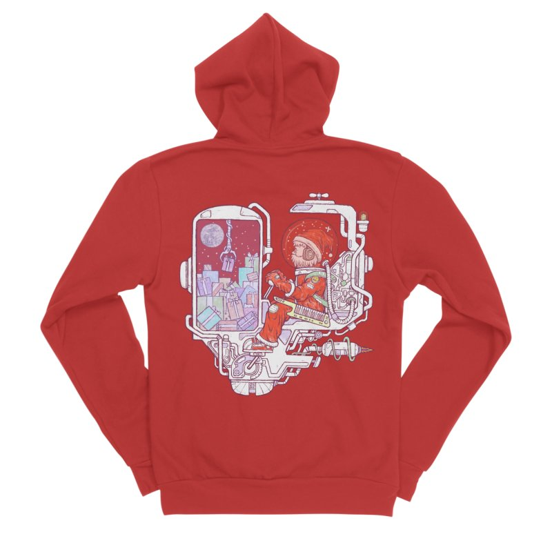 Santa space suits Men's Sponge Fleece Zip-Up Hoody by makapa's Artist Shop