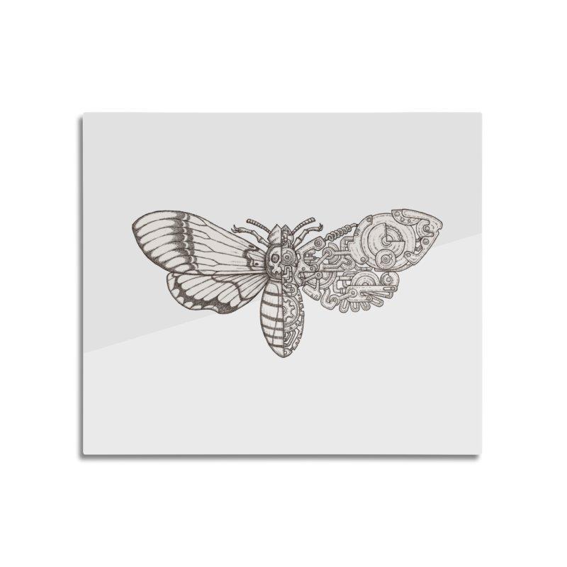 death head moth sci-fi Home Mounted Aluminum Print by makapa's Artist Shop