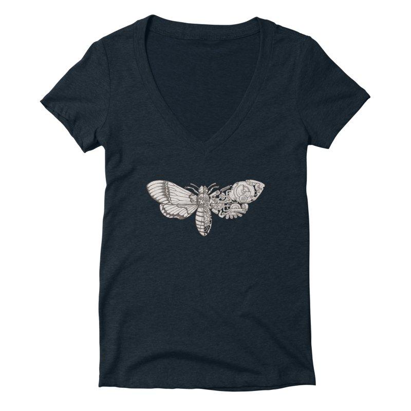 death head moth sci-fi Women's Deep V-Neck V-Neck by makapa's Artist Shop