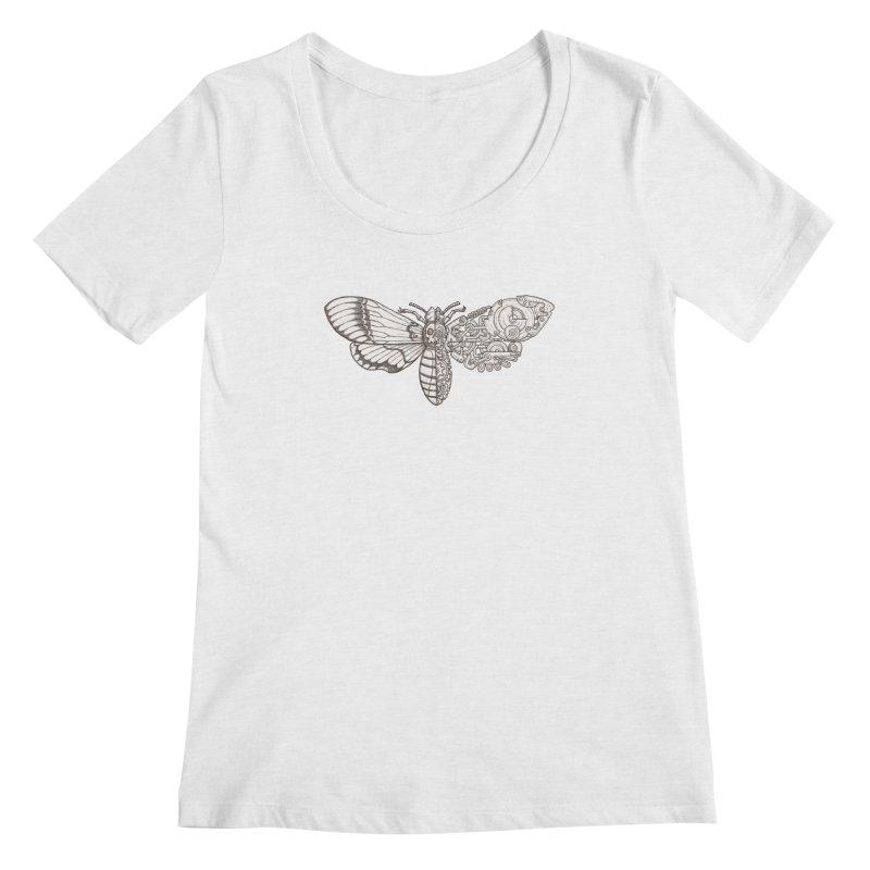 death head moth sci-fi Women's Scoop Neck by makapa's Artist Shop