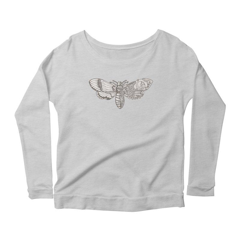 death head moth sci-fi Women's Scoop Neck Longsleeve T-Shirt by makapa's Artist Shop