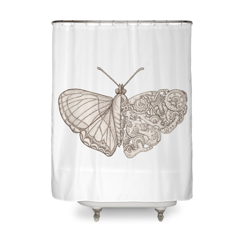 butterfly sci-fi Home Shower Curtain by makapa's Artist Shop