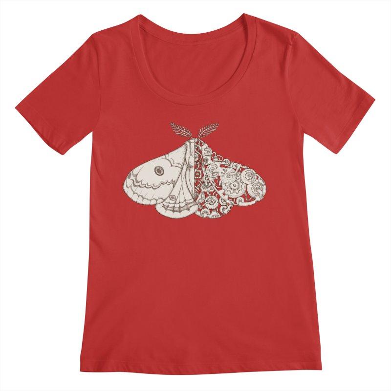 moth sci-fi Women's Regular Scoop Neck by makapa's Artist Shop