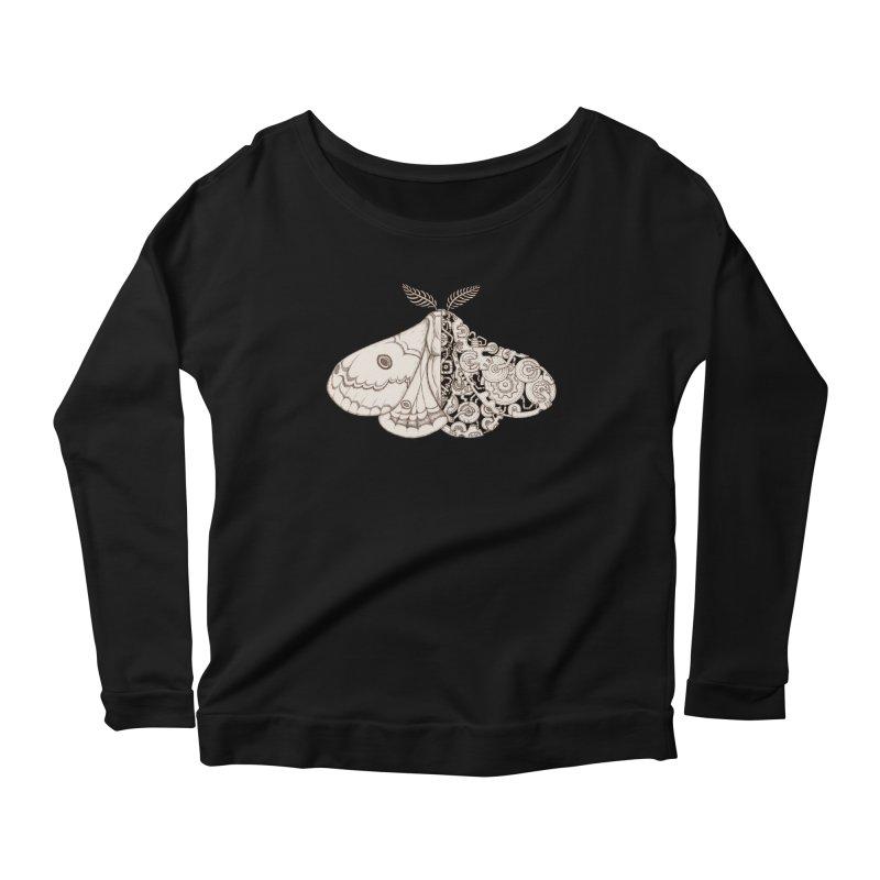 moth sci-fi Women's Scoop Neck Longsleeve T-Shirt by makapa's Artist Shop
