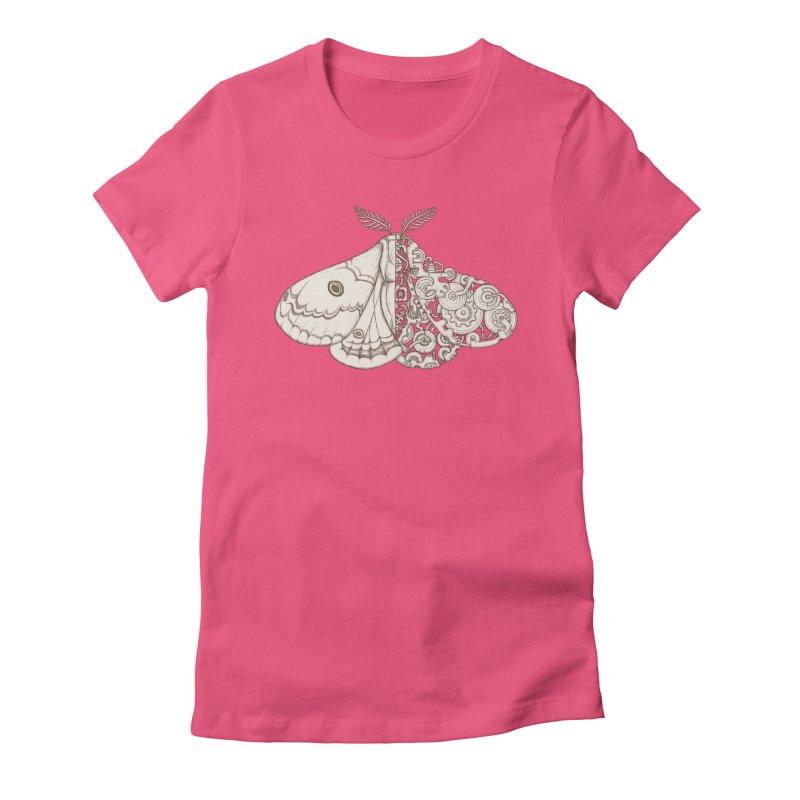 moth sci-fi Women's Fitted T-Shirt by makapa's Artist Shop