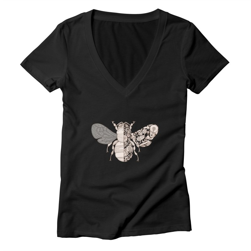 Bee sci-fi Women's Deep V-Neck V-Neck by makapa's Artist Shop