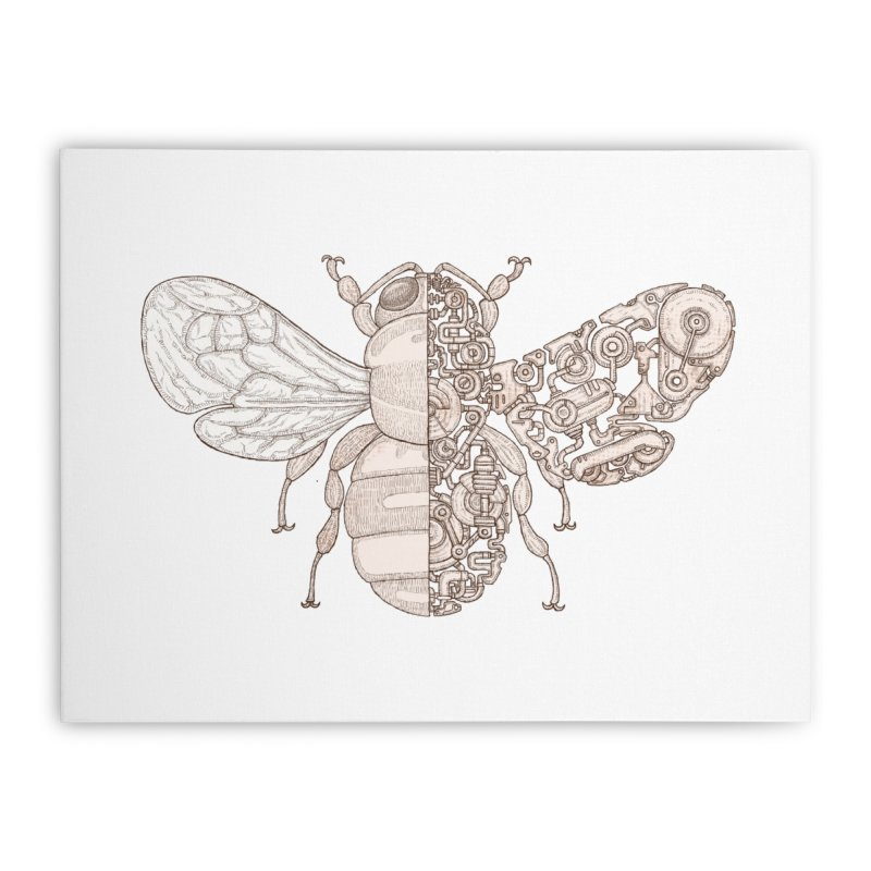 Bee sci-fi Home Stretched Canvas by makapa's Artist Shop