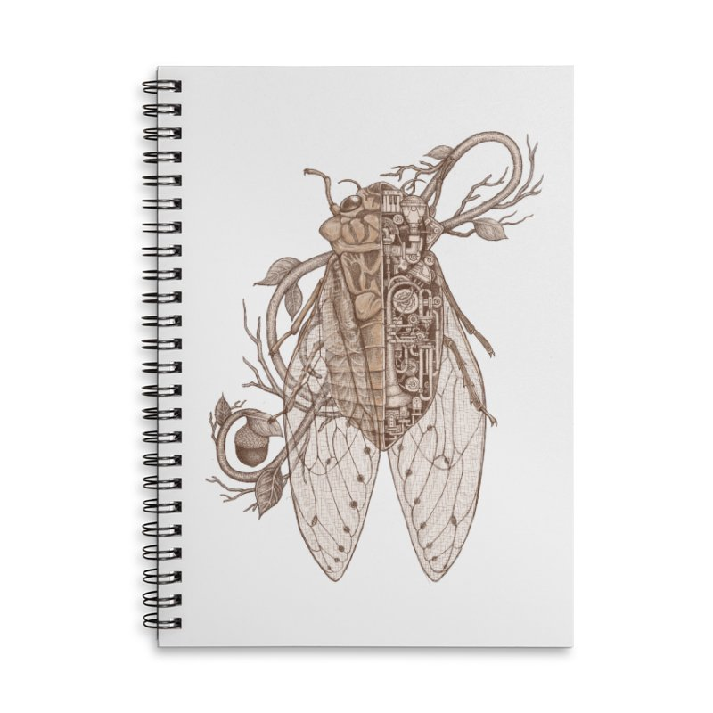 Anatomy of cicada Accessories Lined Spiral Notebook by makapa's Artist Shop