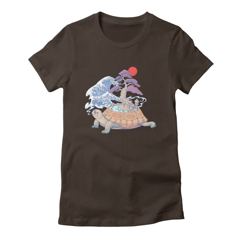 Turtle garden Women's Fitted T-Shirt by makapa's Artist Shop