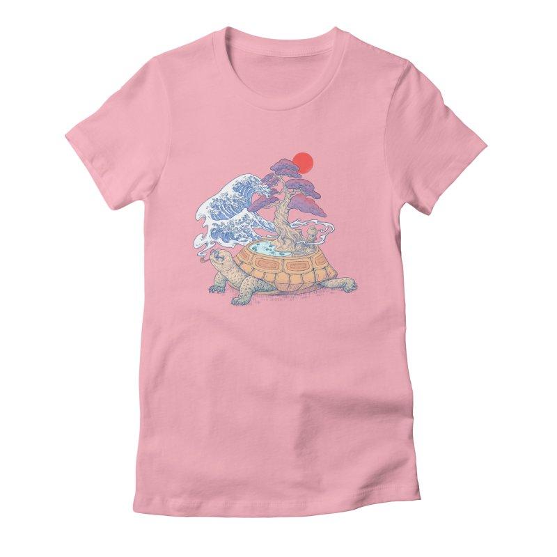 Turtle garden Women's Fitted T-Shirt by makapa's Artist Shop