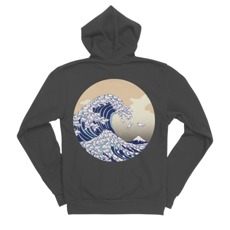 the great wave of kawaii Men's Sponge Fleece Zip-Up Hoody by makapa's Artist Shop