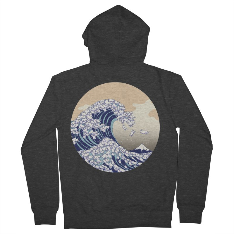 the great wave of kawaii Women's French Terry Zip-Up Hoody by makapa's Artist Shop