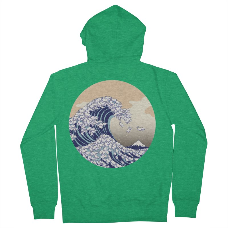 the great wave of kawaii Men's French Terry Zip-Up Hoody by makapa's Artist Shop