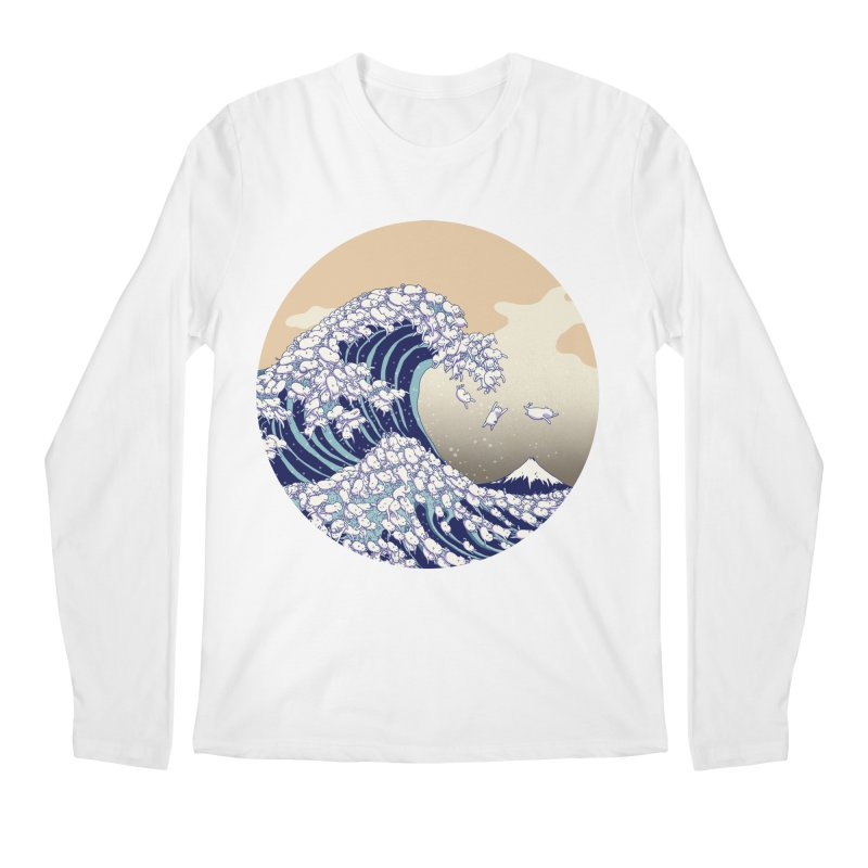 the great wave of kawaii Men's Regular Longsleeve T-Shirt by makapa's Artist Shop