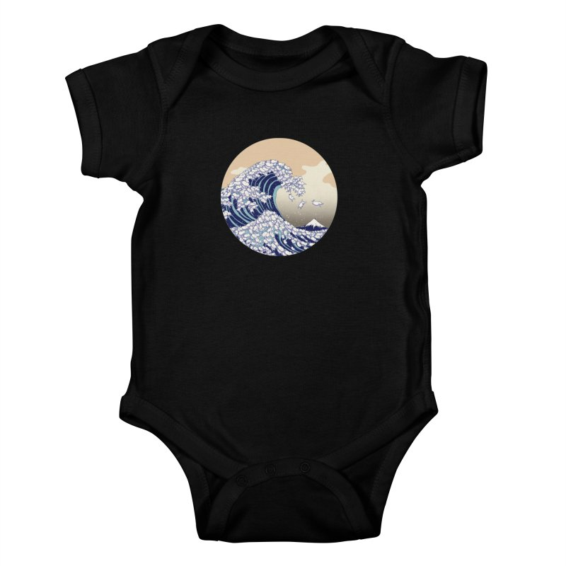 the great wave of kawaii Kids Baby Bodysuit by makapa's Artist Shop