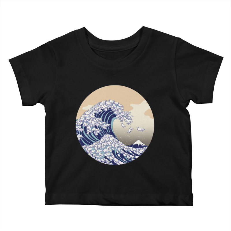 the great wave of kawaii Kids Baby T-Shirt by makapa's Artist Shop