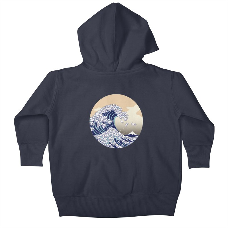 the great wave of kawaii Kids Baby Zip-Up Hoody by makapa's Artist Shop