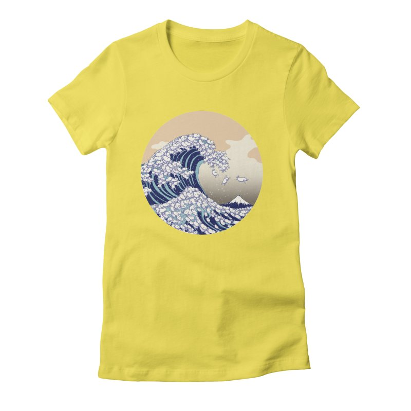 the great wave of kawaii Women's Fitted T-Shirt by makapa's Artist Shop