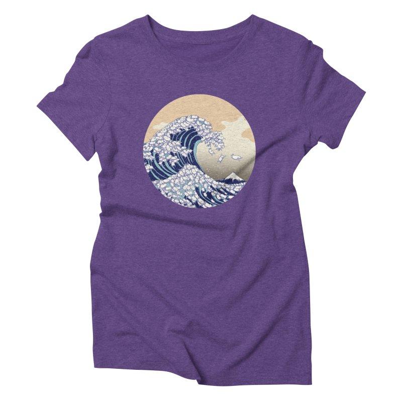 the great wave of kawaii Women's Triblend T-Shirt by makapa's Artist Shop