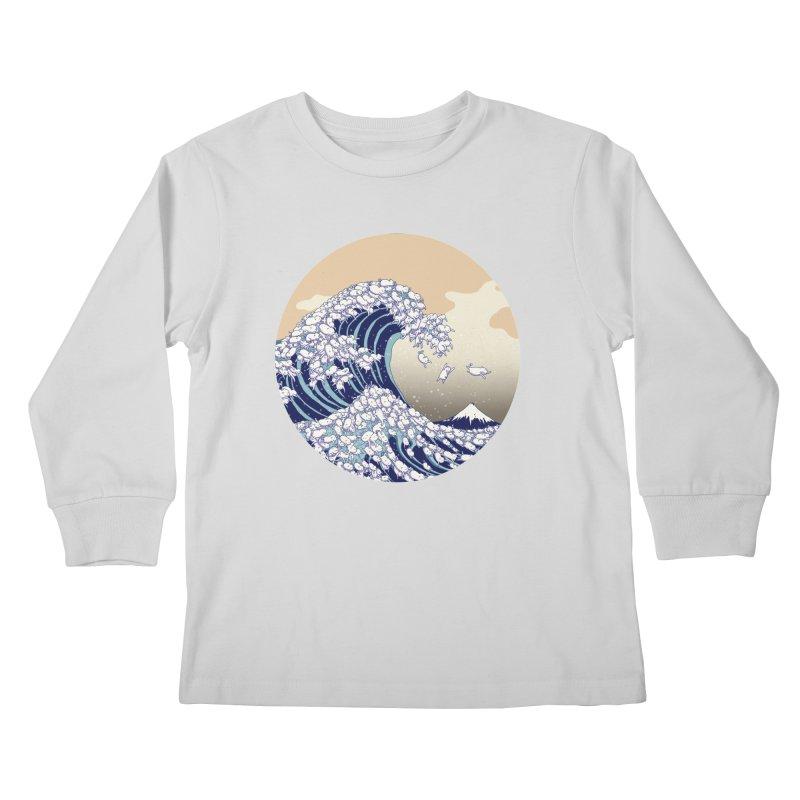 the great wave of kawaii Kids Longsleeve T-Shirt by makapa's Artist Shop