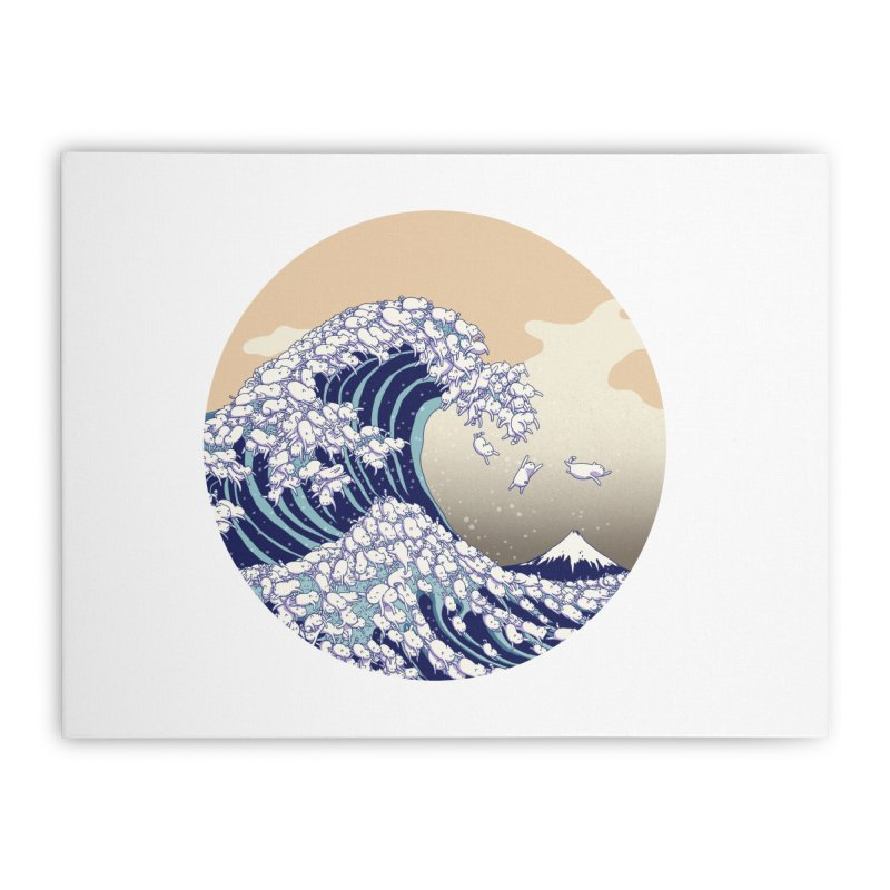the great wave of kawaii Home Stretched Canvas by makapa's Artist Shop
