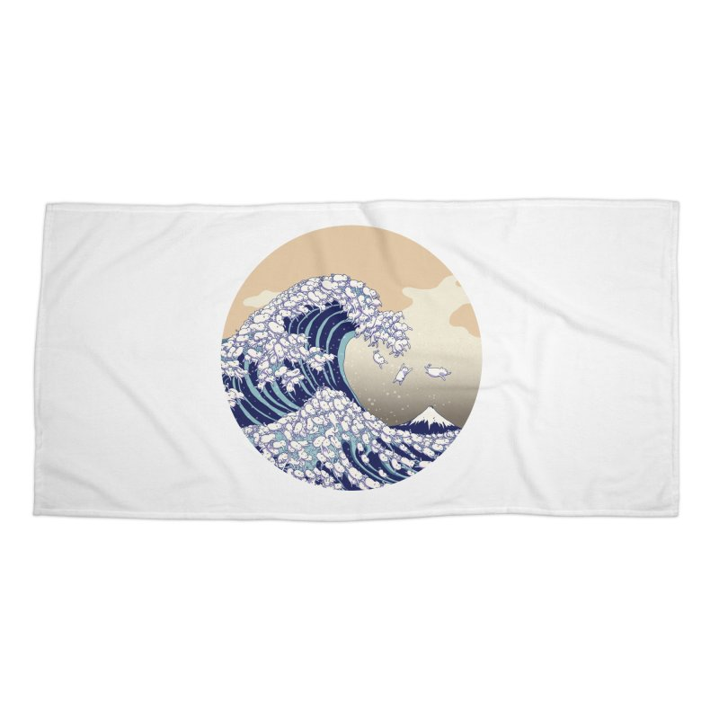 the great wave of kawaii Accessories Beach Towel by makapa's Artist Shop