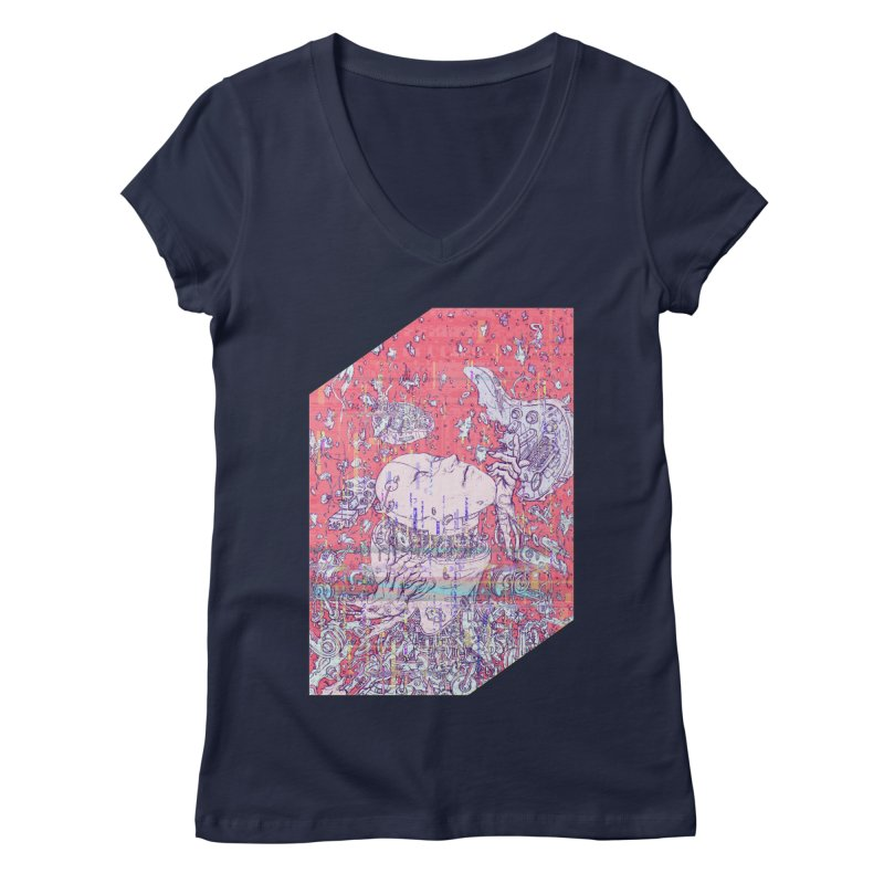 god attack Women's V-Neck by makapa's Artist Shop