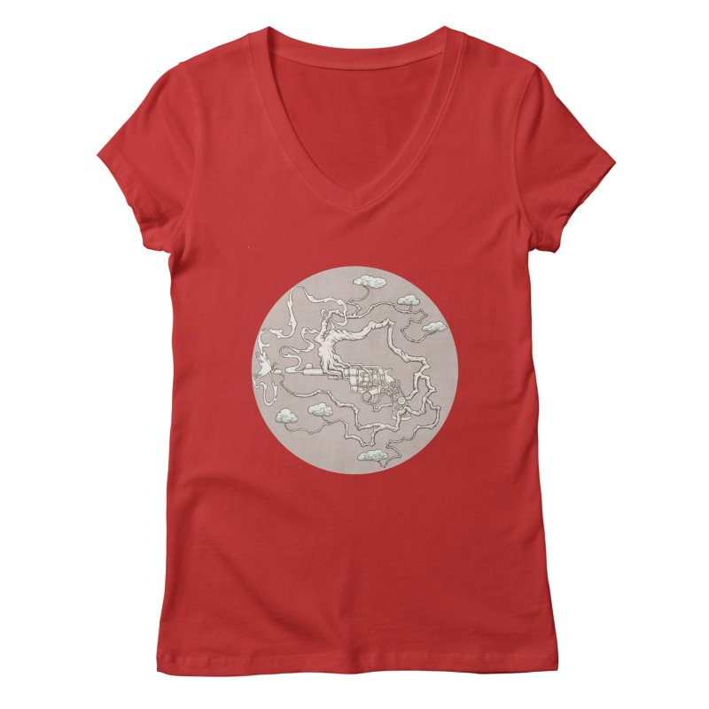 slow gun Women's V-Neck by makapa's Artist Shop
