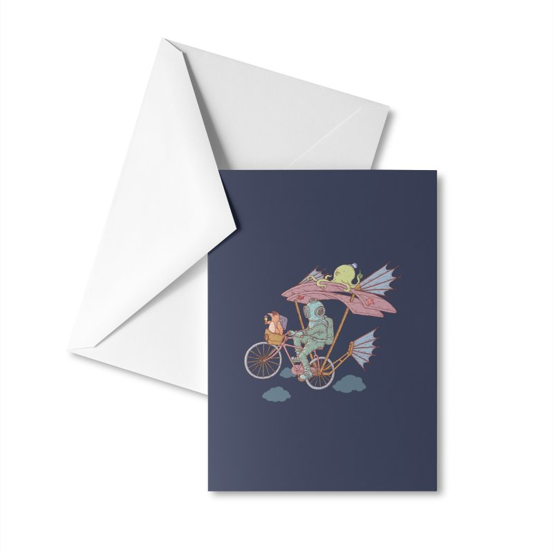 Fly with aquanaut Accessories Greeting Card by makapa's Artist Shop