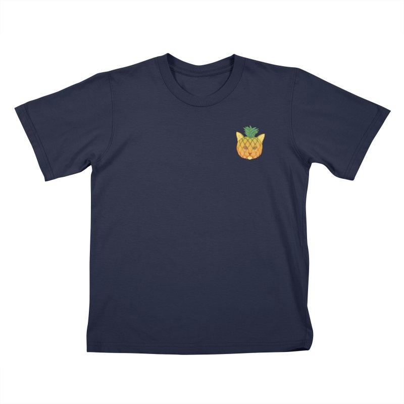 Pineapple cat (mini) Kids T-Shirt by makapa's Artist Shop
