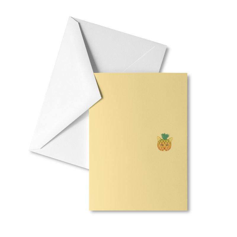 Pineapple cat (mini) Accessories Greeting Card by makapa's Artist Shop