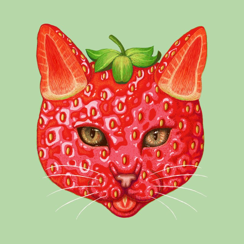 Strawberry cat Accessories Greeting Card by makapa's Artist Shop