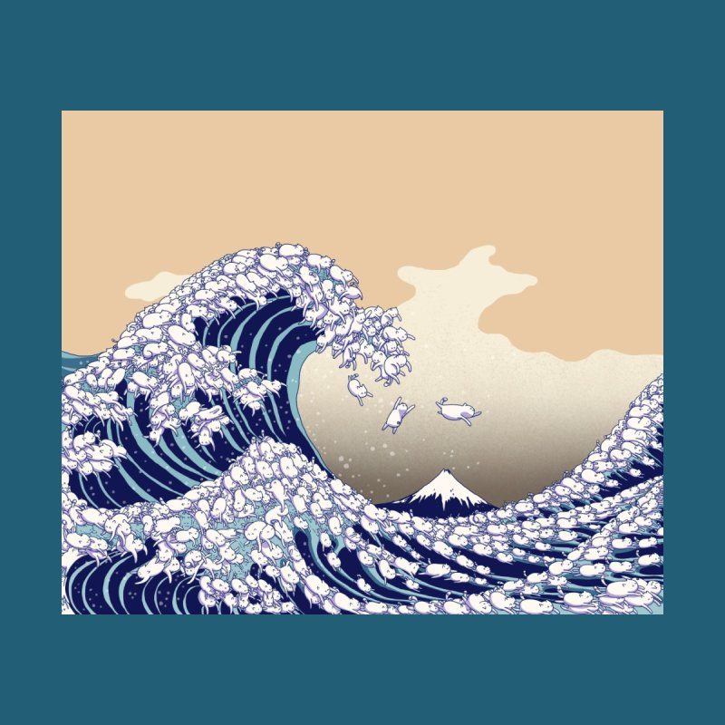 the great wave of kawaii Accessories Greeting Card by makapa's Artist Shop