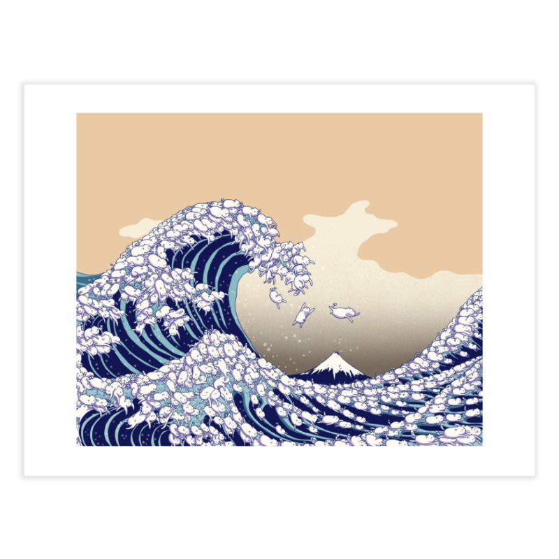 the great wave of kawaii Home Fine Art Print by makapa's Artist Shop