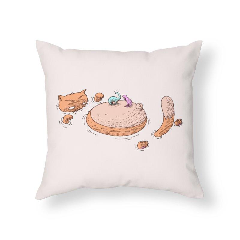 Catnosaur Home Throw Pillow by makapa's Artist Shop