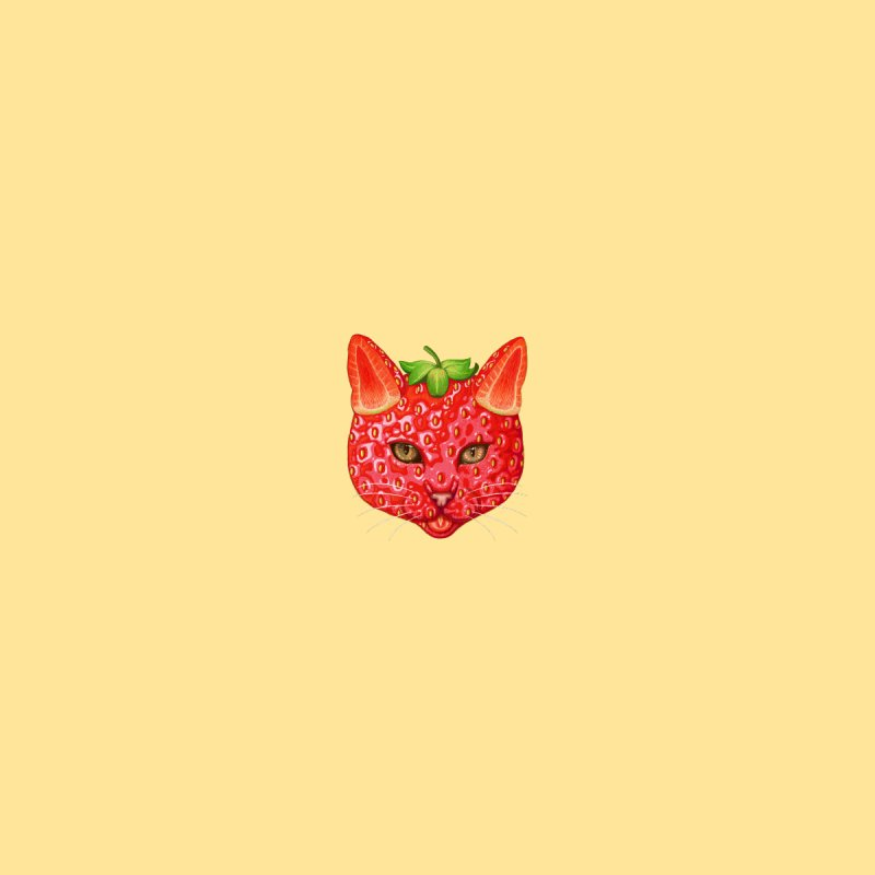 Strawberry cat (mini) Accessories Face Mask by makapa's Artist Shop