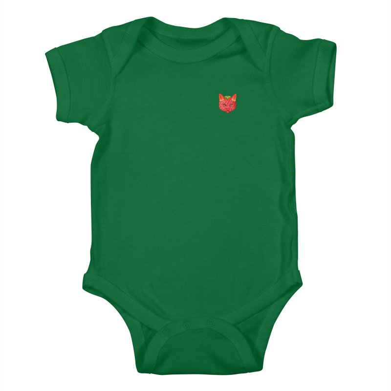 Strawberry cat (mini) Kids Baby Bodysuit by makapa's Artist Shop