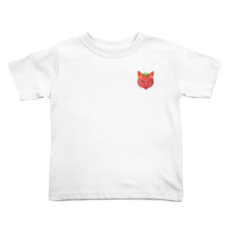 Strawberry cat (mini) Kids Toddler T-Shirt by makapa's Artist Shop