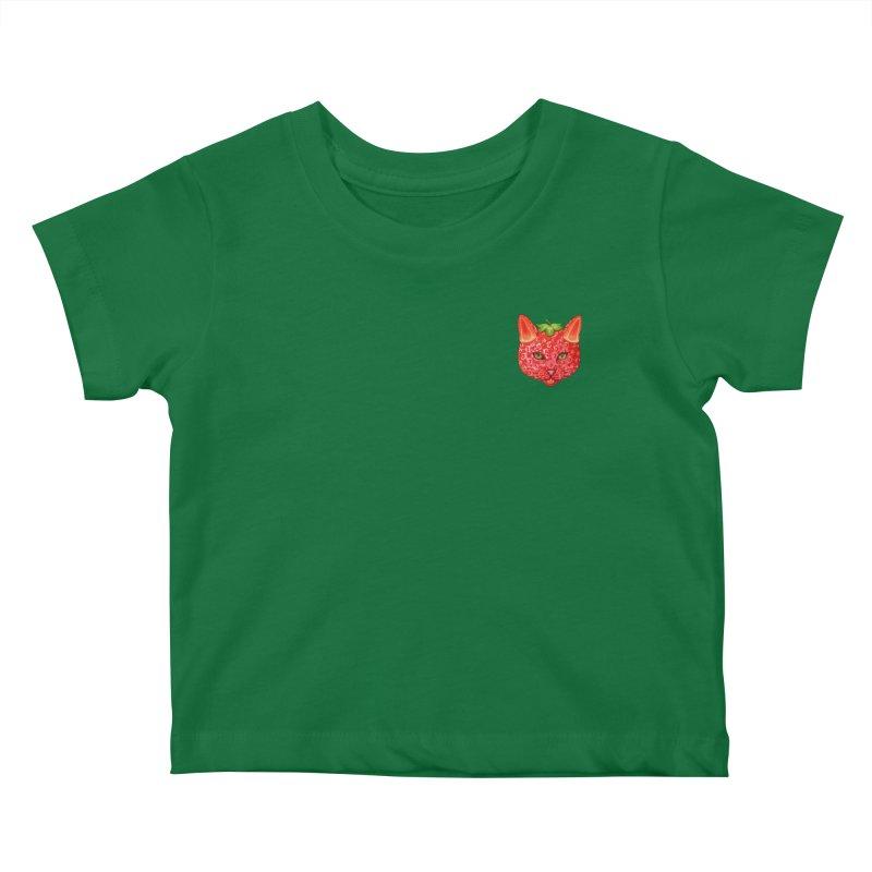 Strawberry cat (mini) Kids Baby T-Shirt by makapa's Artist Shop