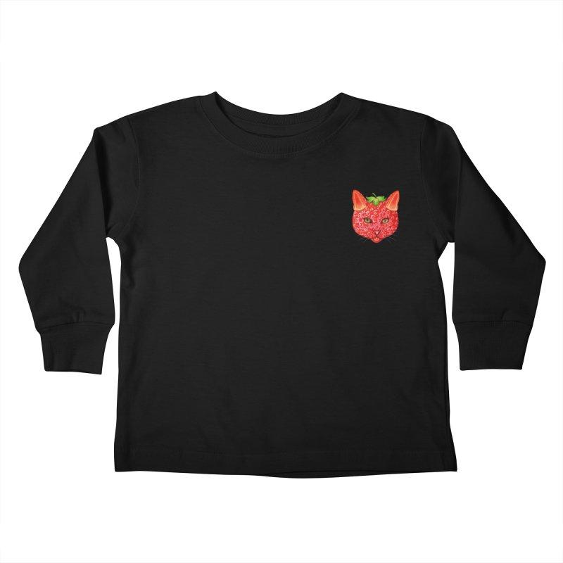 Strawberry cat (mini) Kids Toddler Longsleeve T-Shirt by makapa's Artist Shop