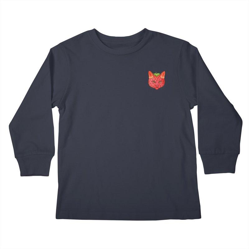 Strawberry cat (mini) Kids Longsleeve T-Shirt by makapa's Artist Shop