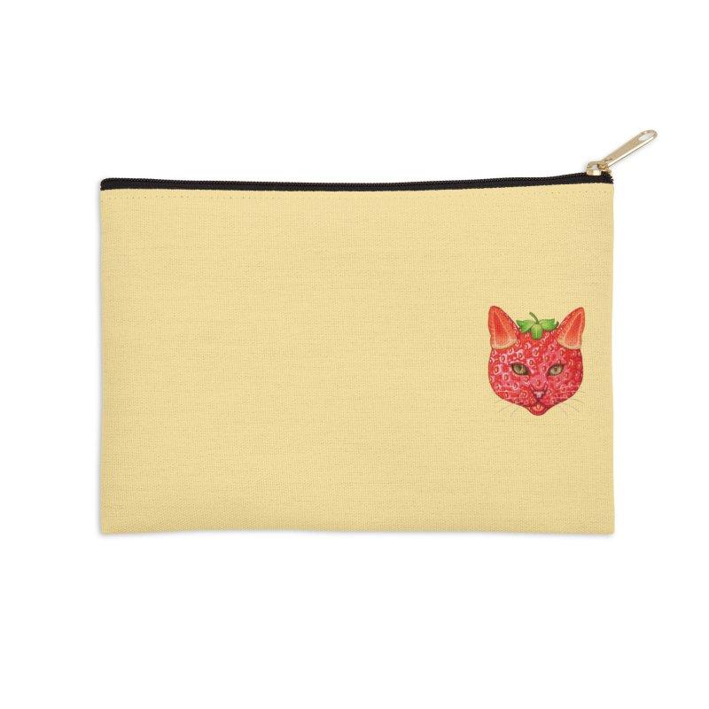 Strawberry cat (mini) Accessories Zip Pouch by makapa's Artist Shop