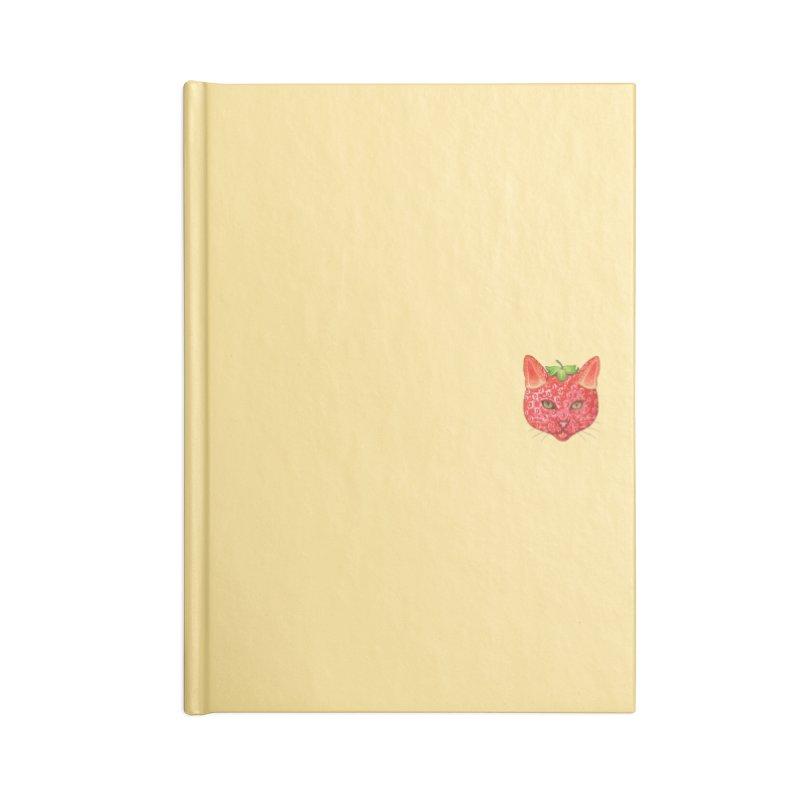 Strawberry cat (mini) Accessories Notebook by makapa's Artist Shop