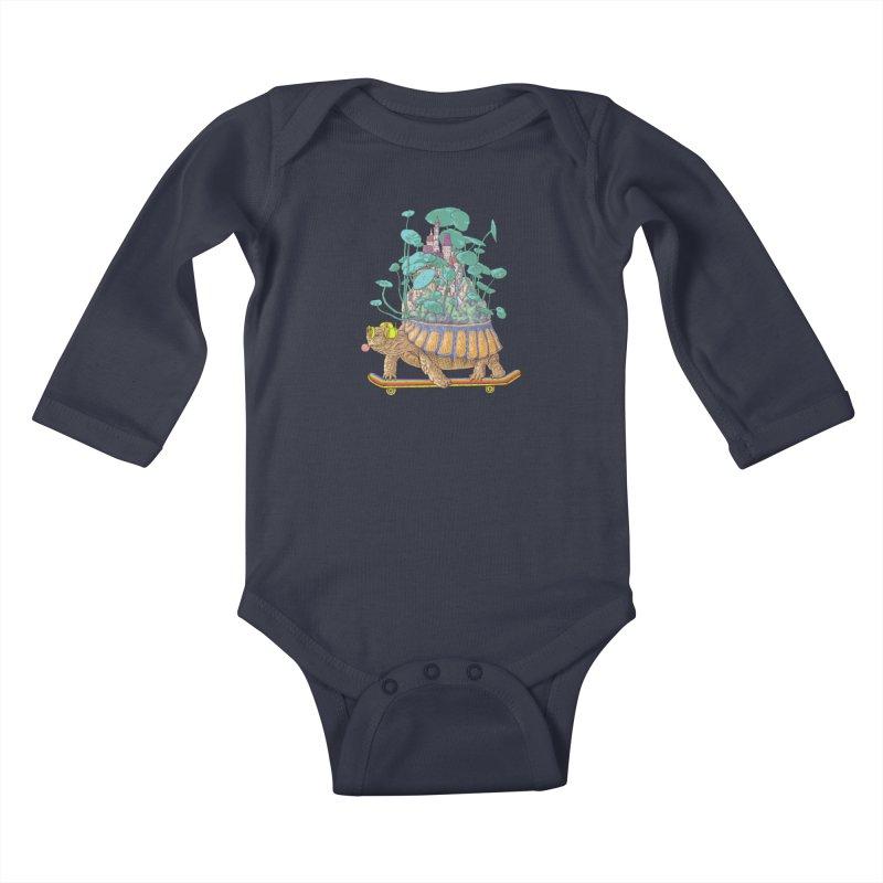 Turtle's moving castle 02 Kids Baby Longsleeve Bodysuit by makapa's Artist Shop